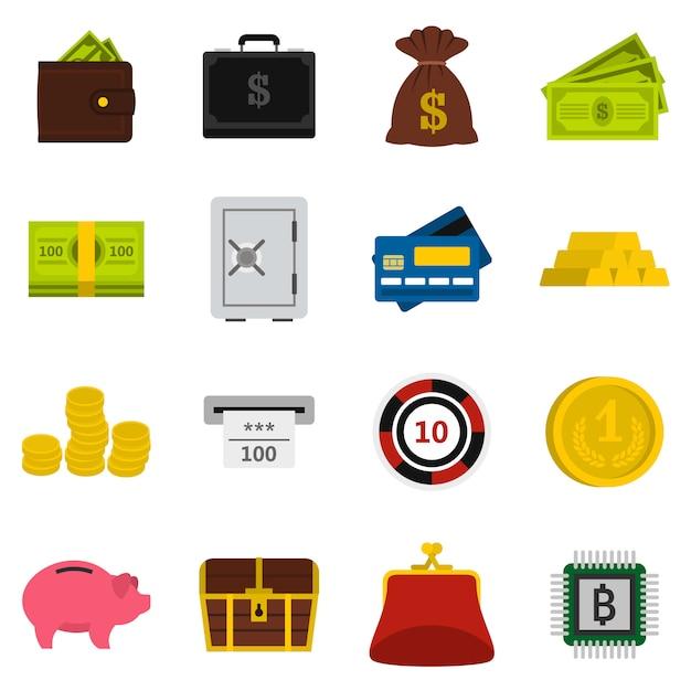 Money icons set Premium Vector