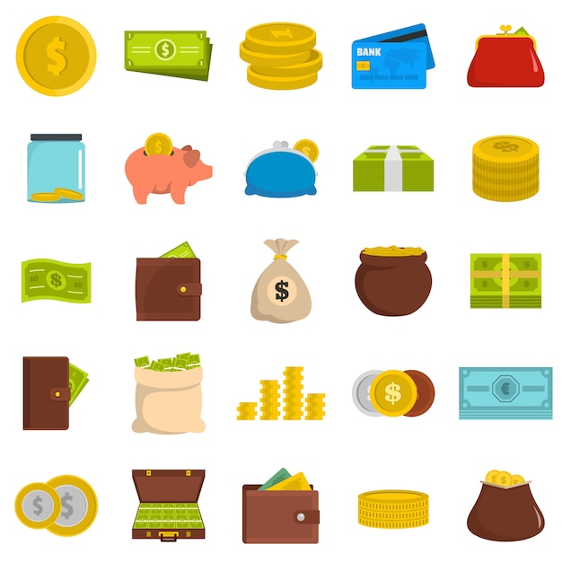 Money icons set Premium Vector