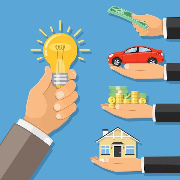 Money for idea Premium Vector