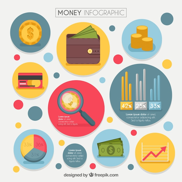 Money infographic with colored items and round\ shapes
