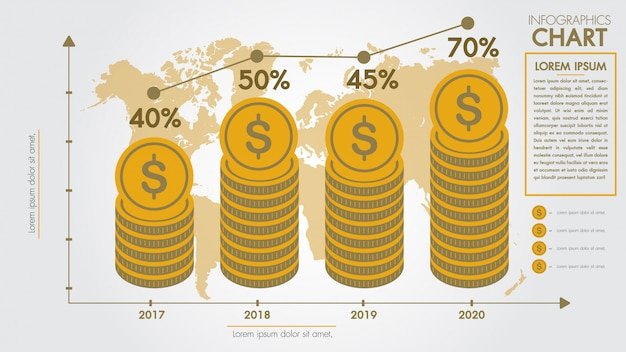 Money infographics design concept. business finance market growth corporate graph and chart Premium Vector