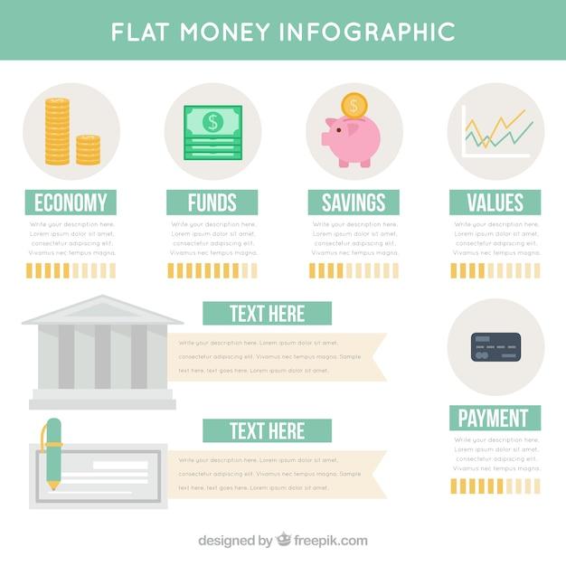 Money infographics in flat design Free Vector