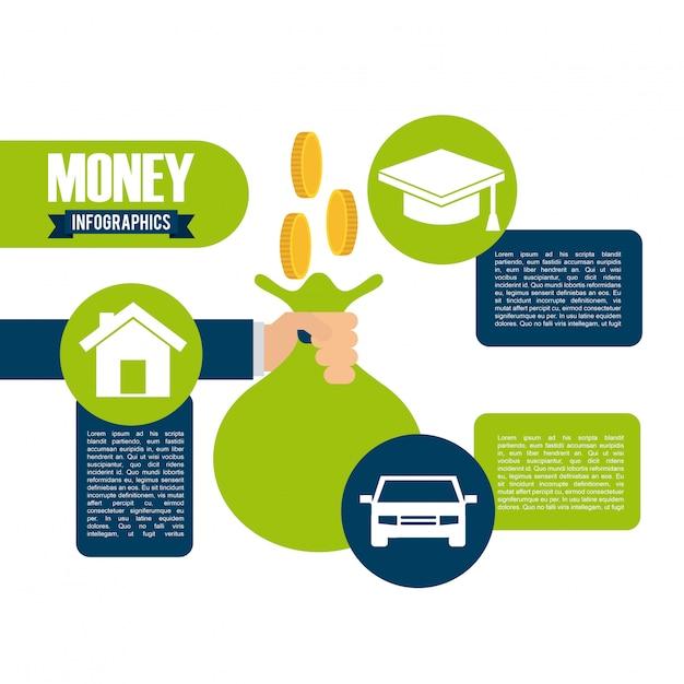 Money infographics Premium Vector