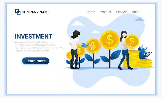 金のなる木に水をまく女性とお金の投資概念とコインを収集し、利益を増やし、ビジネスを成長させます。 Premiumベクター