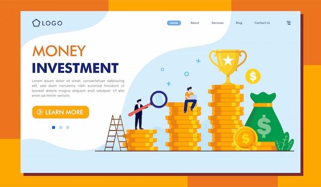Money investment landing page website Premium Vector