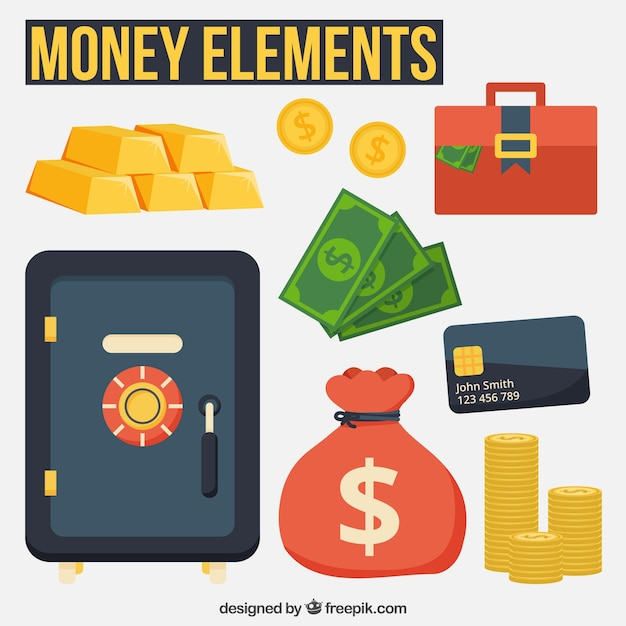 Money items and safe box Free Vector