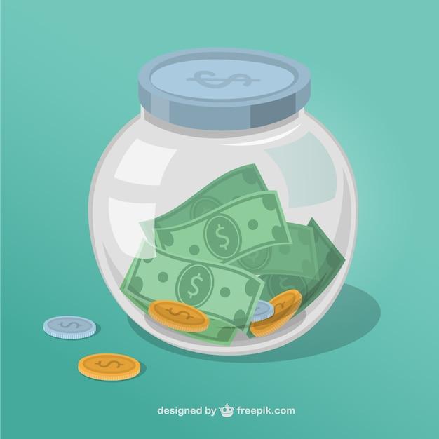 Money jar Premium Vector
