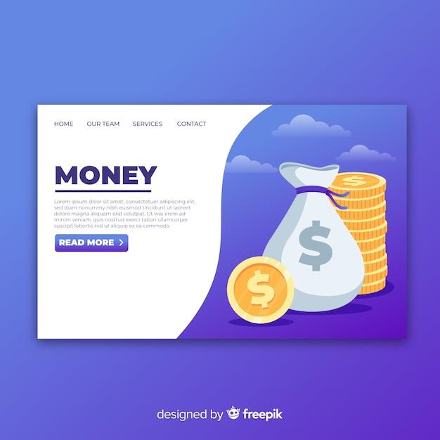 Money landing page Free Vector