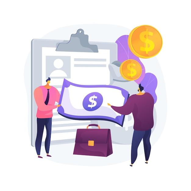 お金を貸す抽象的な概念ベクトル図。少額の貸し手、個人ローン、短期融資、商業銀行および産業銀行の信用、運転資本の抽象的な比喩。 無料ベクター
