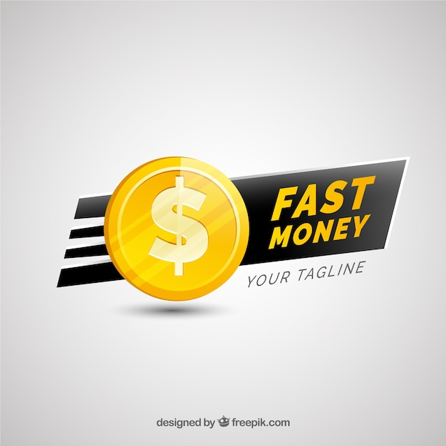 Money logo for company in golden color Free Vector