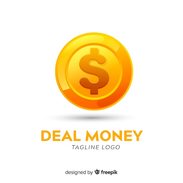 Money logo template with coin Free Vector