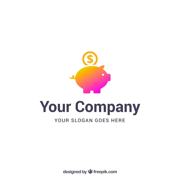 Money logo template with piggybank Free Vector