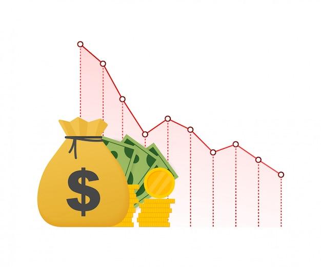 お金の損失。下向き矢印株式グラフ、金融危機、市場の秋、破産の概念と現金。ストックイラスト。 Premiumベクター