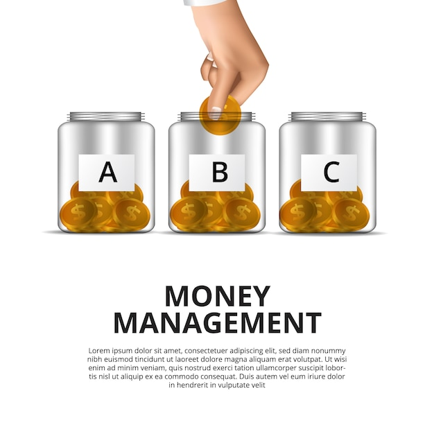 Money management concept with hand put in golden money to jar Premium Vector