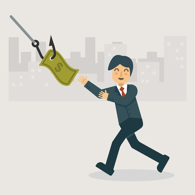 The money phishing and bait Premium Vector