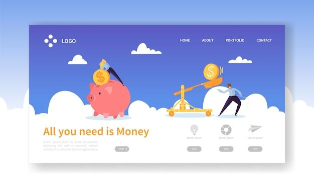 Money pig saving for profit landing page Premium Vector