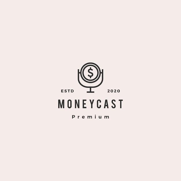 Money podcast logo hipster retro vintage icon for monetize blog video vlog tutorial channel radio broadcast Premium Vector