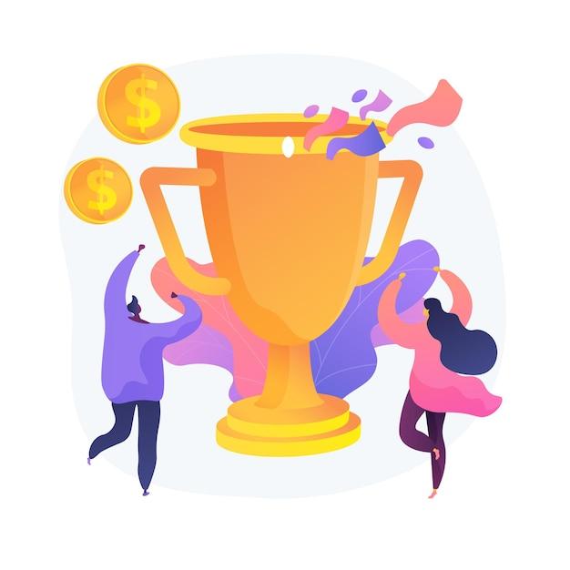 상금, 트로피, 당연한 보상. 팀 성공, 챔피언십, 높은 성과. 금전 상 수상자, 수상자 만화 캐릭터. 벡터 격리 된 개념은 유 그림입니다. 무료 벡터