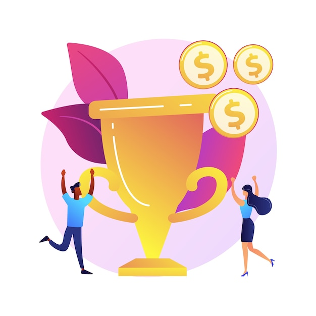 Money prize, trophy, deserved reward. team success, championship, high achievement. monetary award recipients, winners cartoon characters Free Vector
