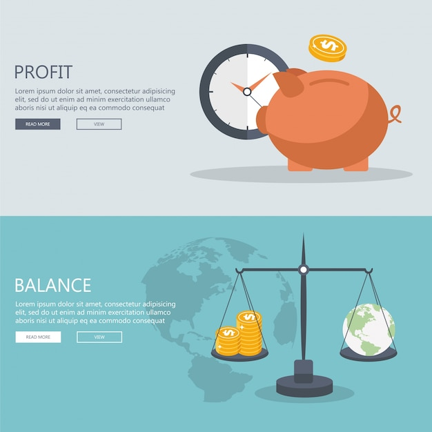 Money profit and balance banners. Free Vector