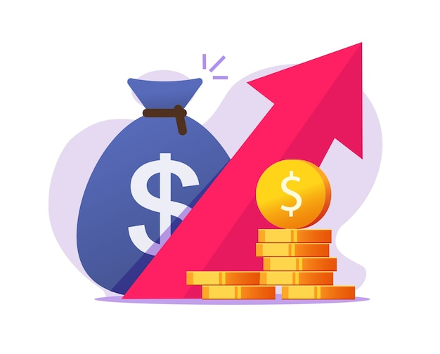 Money profit growth up, cash benefit, economic inflation increase Premium Vector