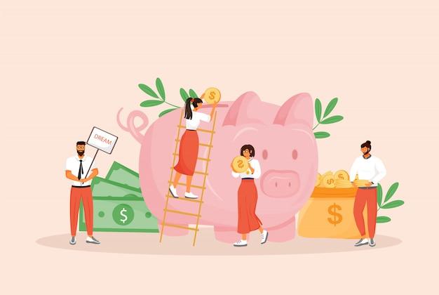 お金の節約の概念図。男性と女性は、webデザインの予算の漫画のキャラクターを計画しています。銀行預金、将来の投資、年金基金、財政管理の創造的なアイデア Premiumベクター