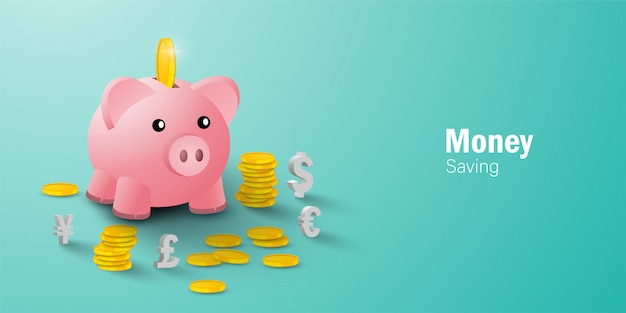Money saving concept, putting a coin into piggy bank among coin and currency sign Premium Vector
