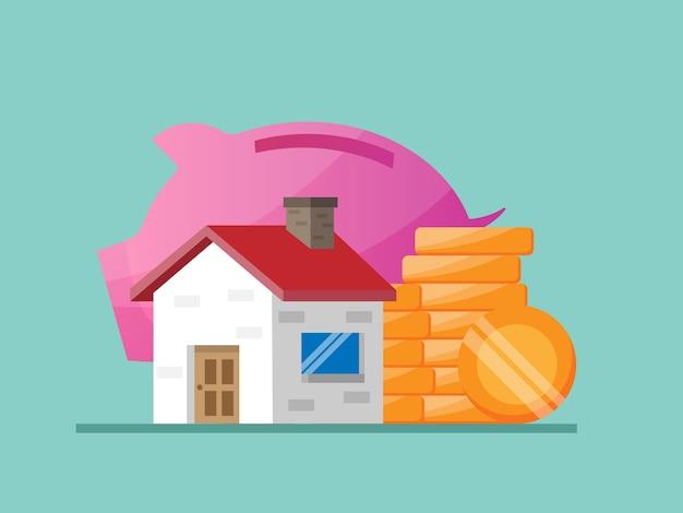 家と不動産のイラストフラットのためのお金の節約 Premiumベクター