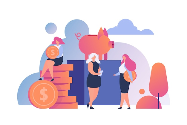 Money saving people . golden coins putting into piggy bank. save money, investments and economy concept. cash deposit, budget planning. currency fund, monthly income. Premium Vector