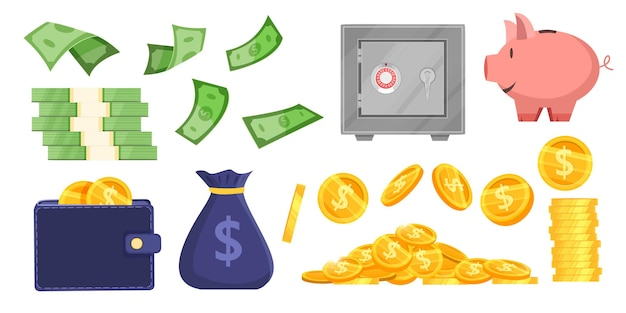 Money saving vector bank illustration set with coins, money bag, piggy bank, wallet, secure safe, dollar bills. Premium Vector