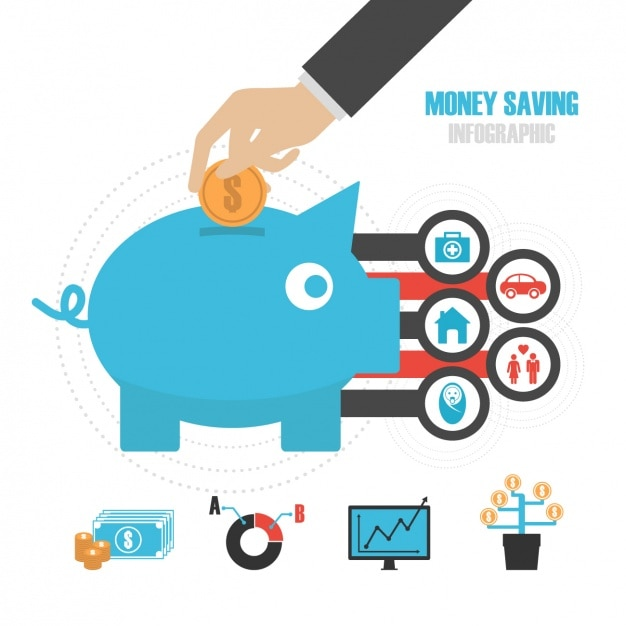 Money savings inphographic template Free Vector