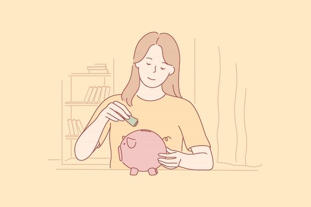 Money, savings, investment, capital business concept. Premium Vector