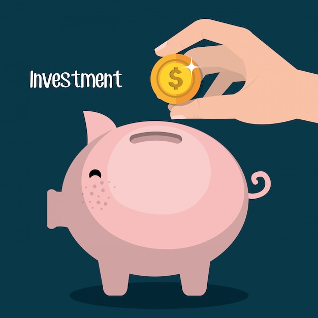 Money savings and investments Free Vector