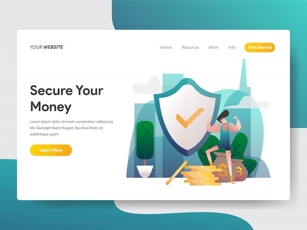 Money security for web page Premium Vector