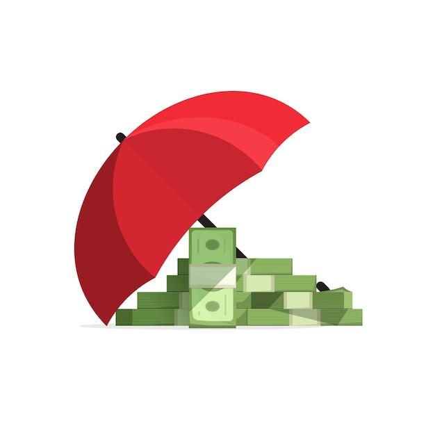 Денежный стек застрахован с зонтиком, деньги защищены Premium векторы