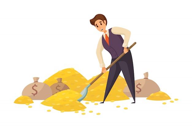 Money, success, capital, profit, wealth, business concept. Premium Vector