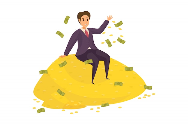 Money, success, profit, wealth, business concept. Premium Vector