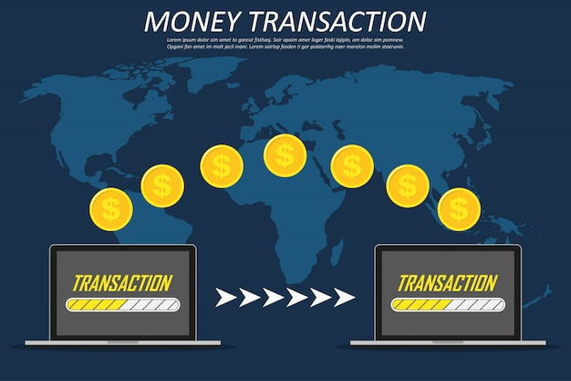 Money transaction around world, business, mobile banking and mobile payment. two laptops on a world map Premium Vector
