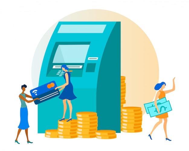Money transaction via automatic teller machine Premium Vector
