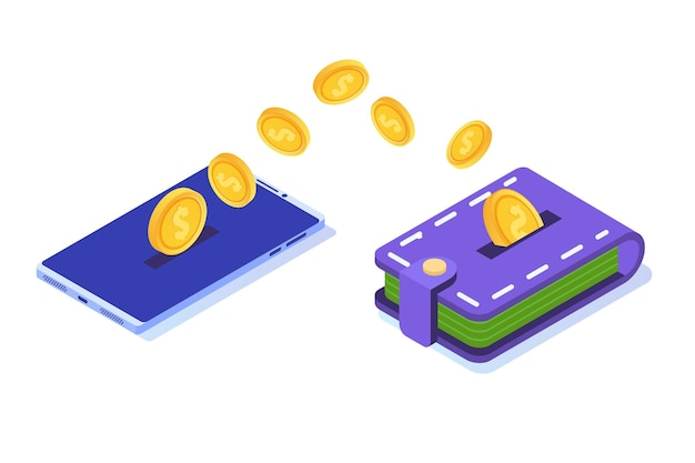 Money transfer from smartphone to wallet.  isometric  illustration. Premium Vector