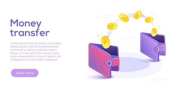 Money transfer from and to wallet in isometric design. capital flow, earning or making money. financial savings or economy concept. Premium Vector