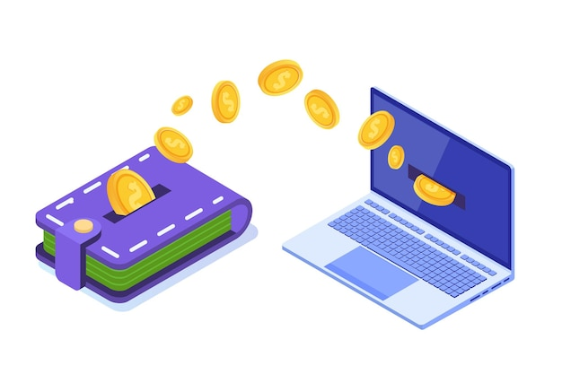 Money transfer from wallet to pc. Premium Vector