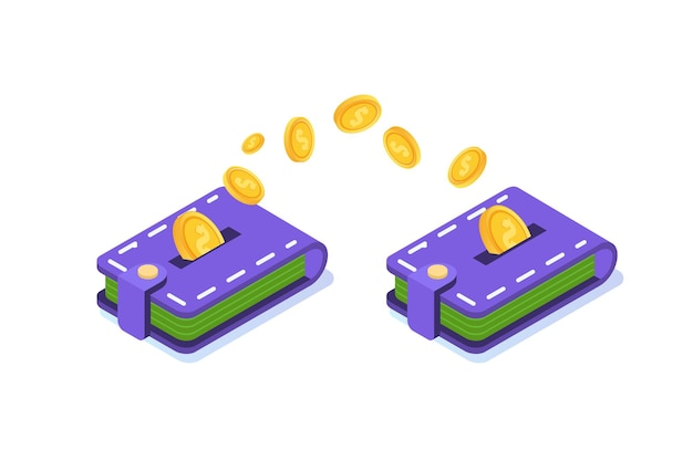 Money transfer from wallet to wallet.  isometric  illustration. Premium Vector