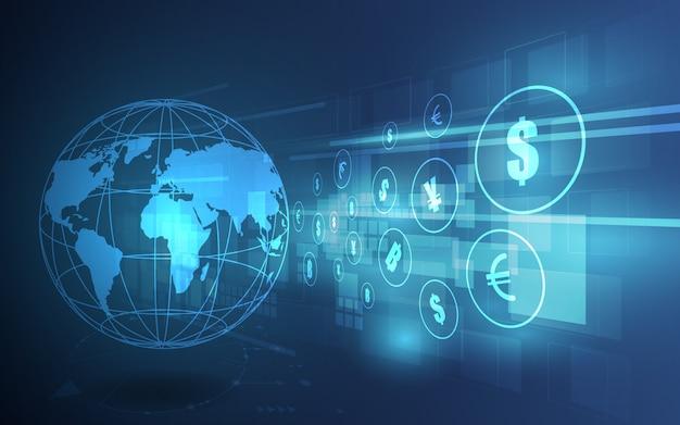 Money transfer. global currency. stock exchange. Premium Vector