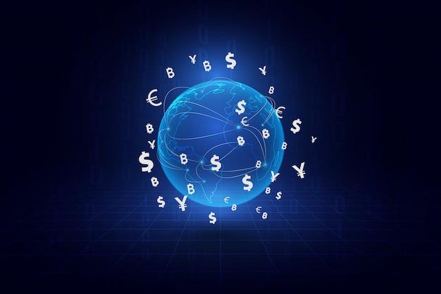 Money transfer. global currency. Premium Vector
