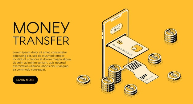 Money transfer mobile phone technology illustration of online bank payment in smartphone Free Vector