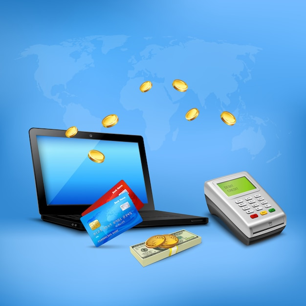 Money transfer realistic composition  with credit cards payment terminal laptop and cash on blue Free Vector