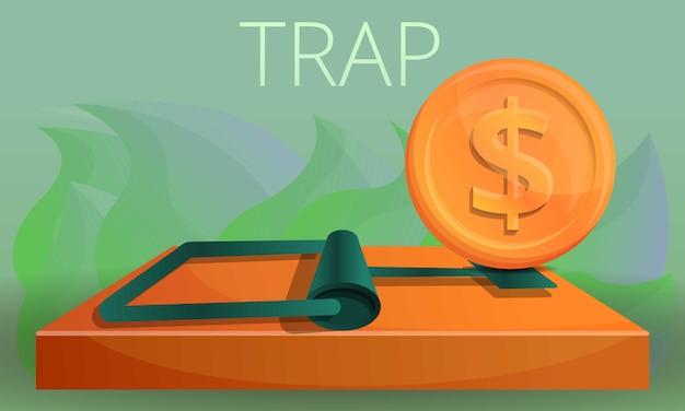 Иллюстрация концепции ловушки денег, стиль шаржа Premium векторы
