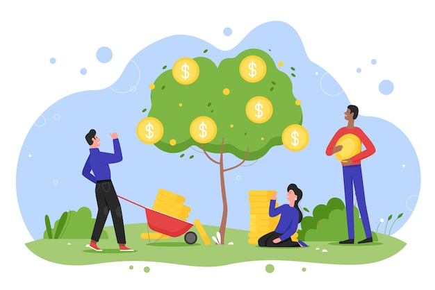 Premium Vector Money Tree Plant Growth Flat Vector Illustration Cartoon Happy Entrepreneur People Planting Money Tree With Cash Gold Coins In Garden Growing Income Almost files can be used for commercial. https www freepik com profile preagreement getstarted 10441157