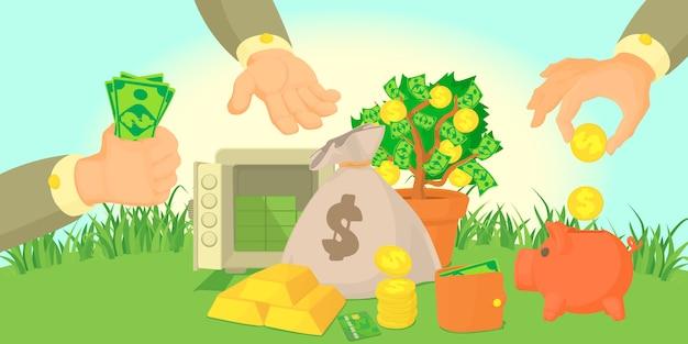 Money types horizontal banner concept Premium Vector